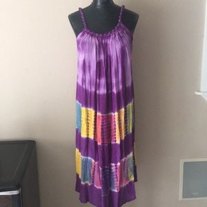 Other - Tie dyed beach cover-up dress OS new purple yellow
